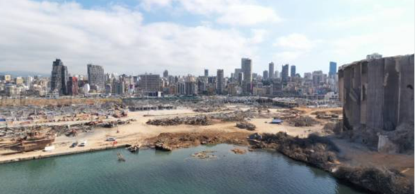 Picture of the Port after the Beirut explosion happened